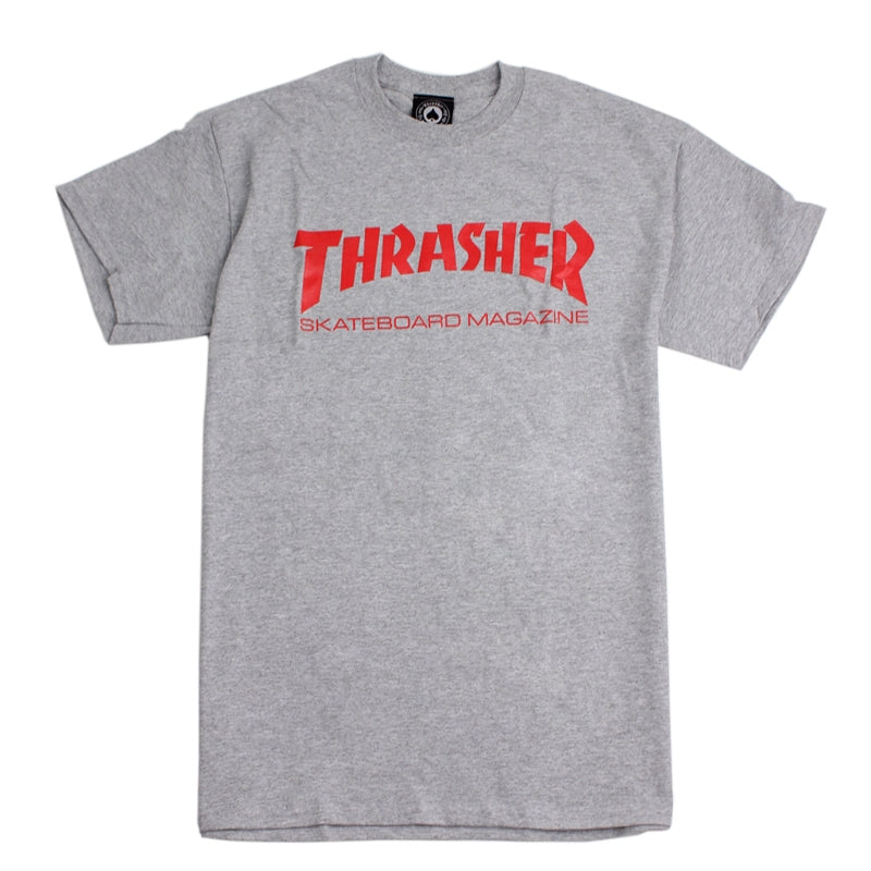 Thrasher Skate Mag Logo T Shirt in Heather Grey / Red