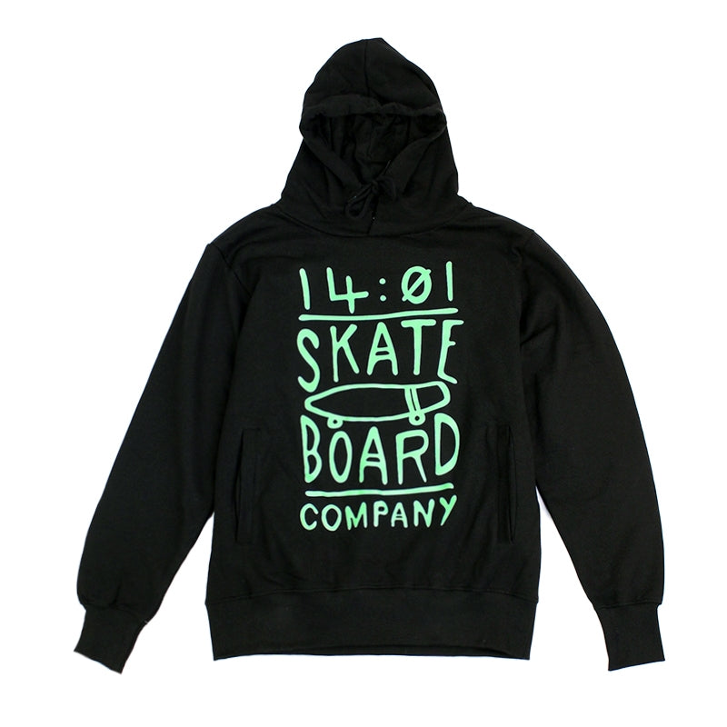 14:01 Skateboard Co Cruise or Lose Slim Fit Hoodie in Black / Mint