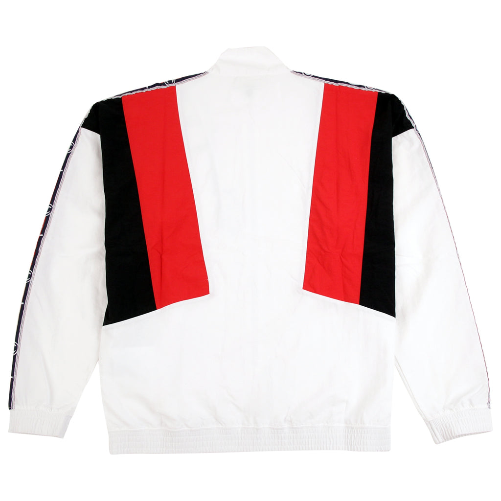 Champion Reverse Weave Taped Track Jacket in White / Red / Black - Back