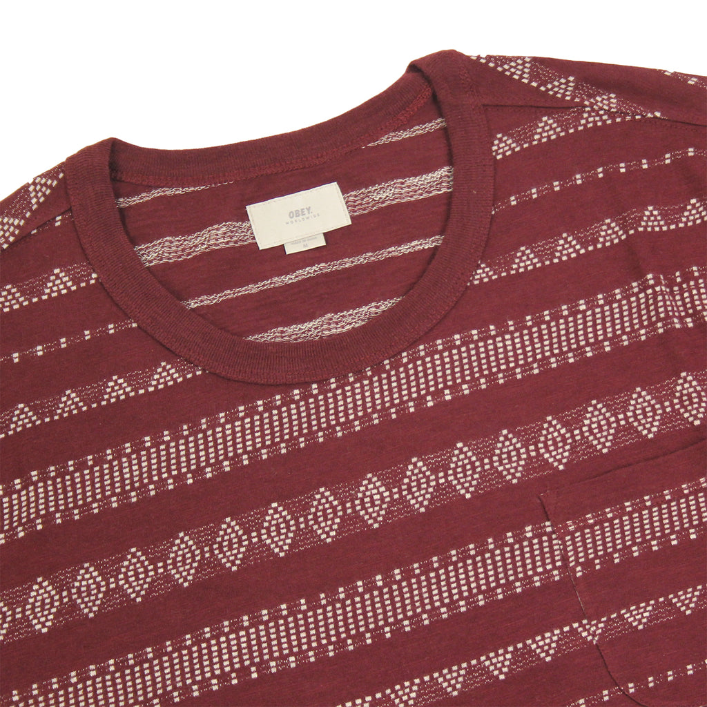 Obey Clothing Mateo T-Shirt in Burgundy - Detail