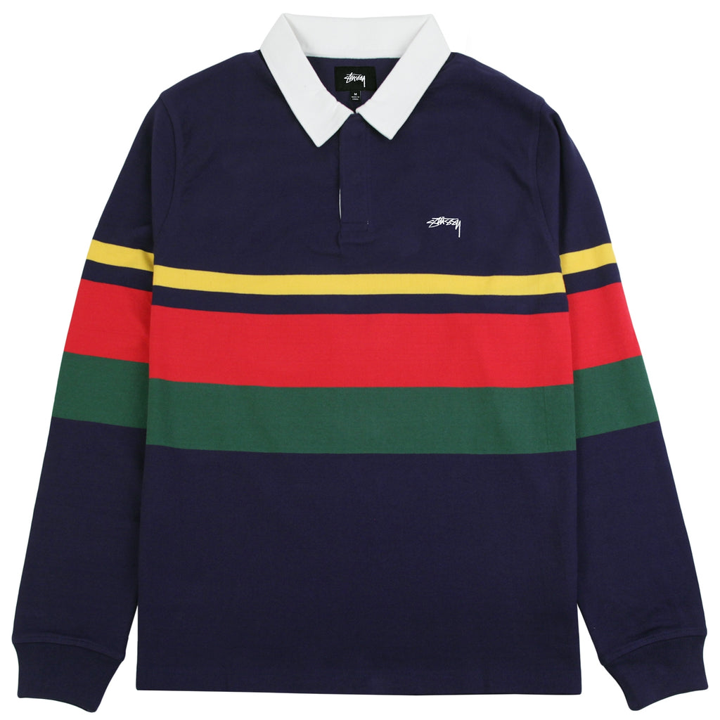 Stussy Lucas Stripe L/S Rugby Shirt in Navy