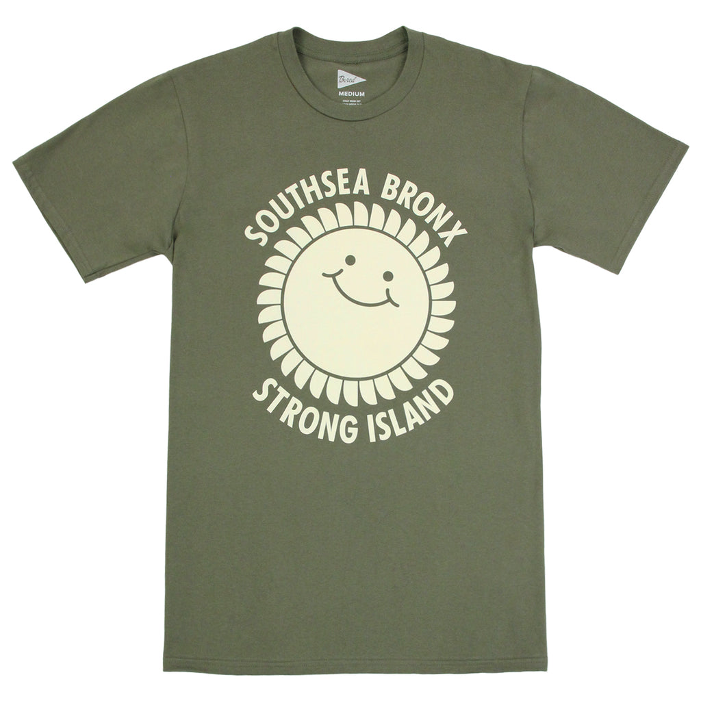 Southsea Bronx Strong Island T Shirt in Ecru on Military Green