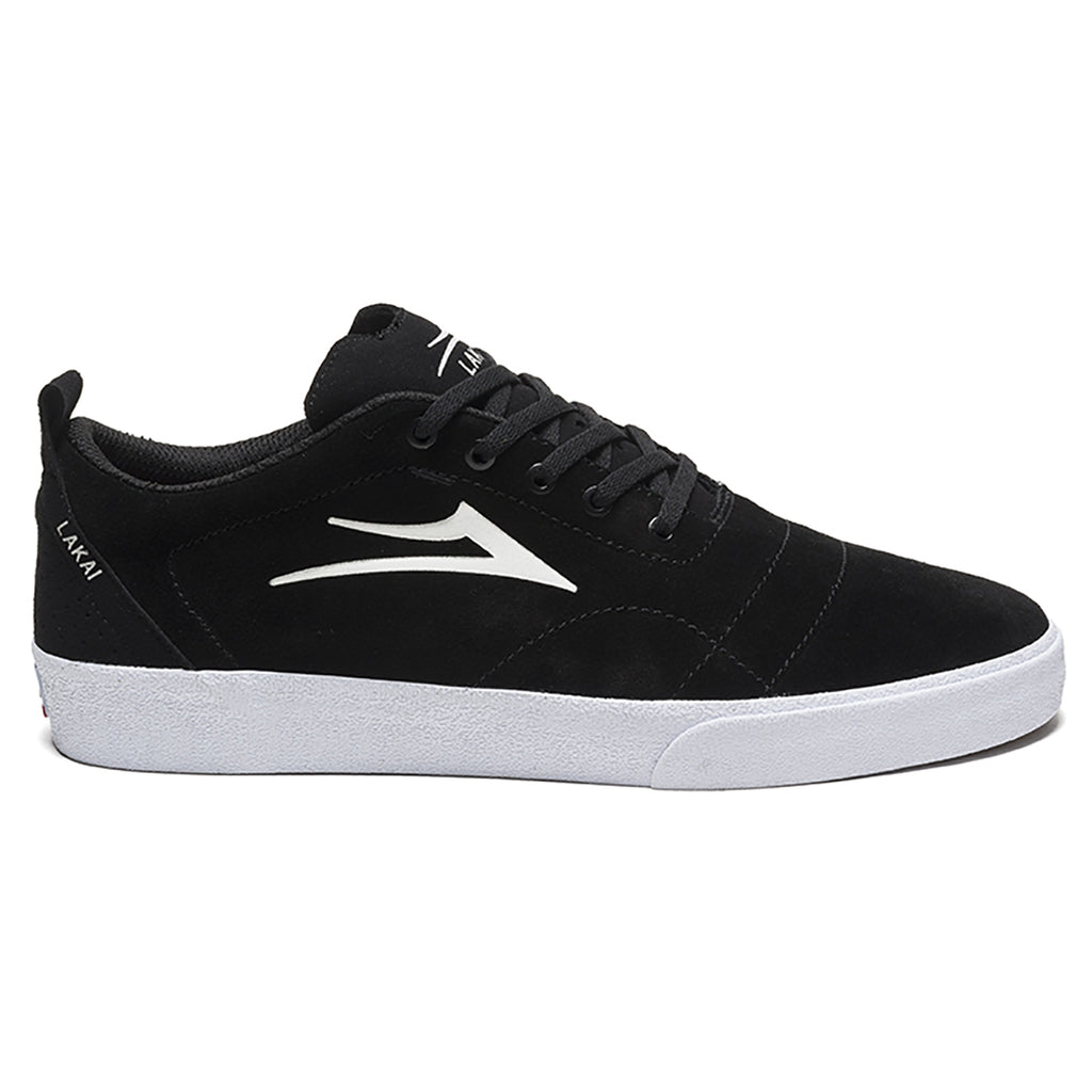 Lakai Bristol Skate Shoes in Black / White Suede