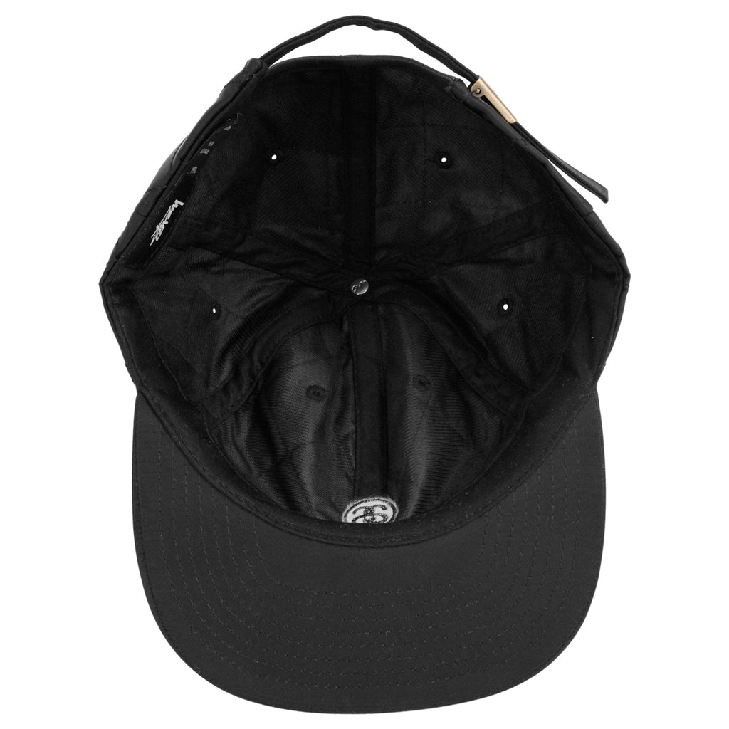 Stussy Quilted Strapback Cap in Black - Inside