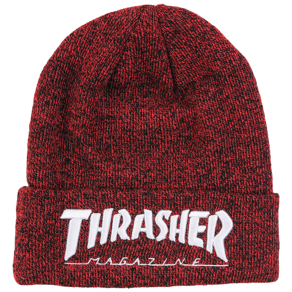Thrasher Embroidered Logo Beanie in Heather Red / White
