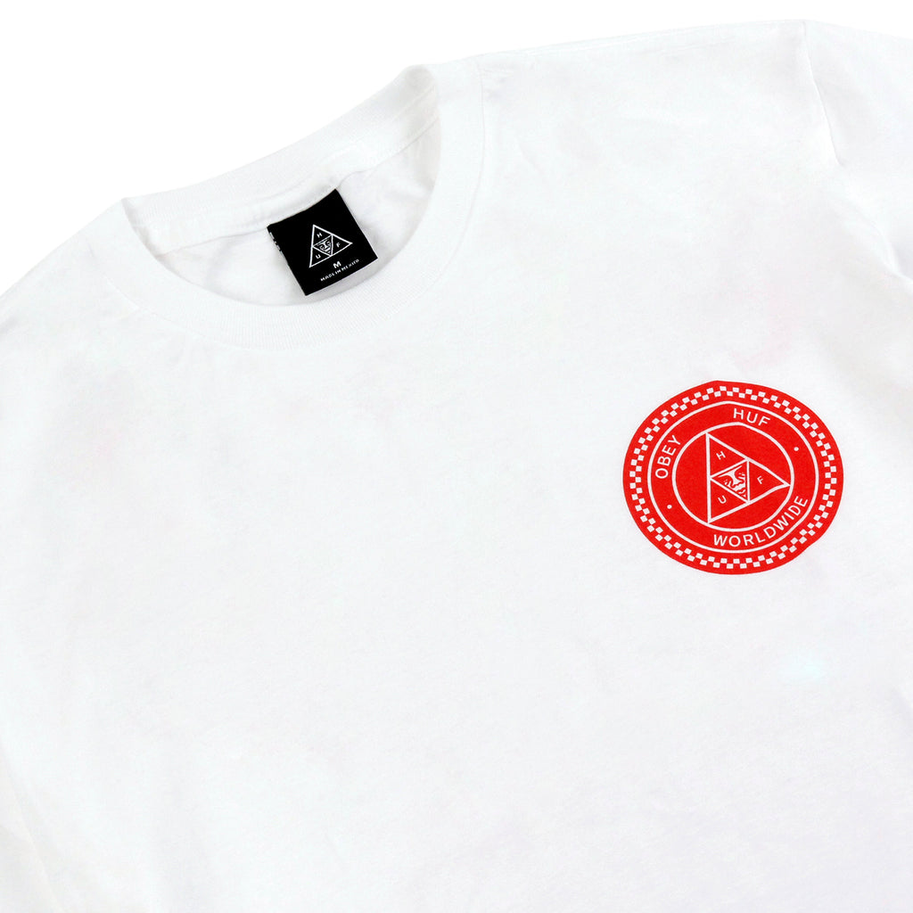HUF x Obey Rat Race T Shirt in White - Detail