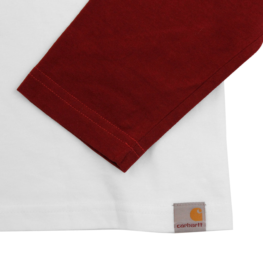 Carhartt L/S League T Shirt in White / Cordovan - Sleeve