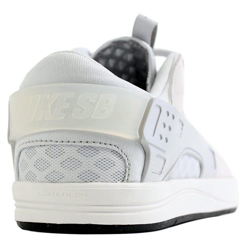Nike SB Eric Koston Huarache Shoes in Summit White / Pure Platinum / Black - Heel