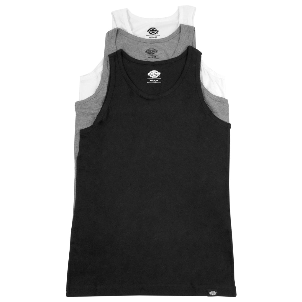 Dickes 3 Pack Vests in White / Heather Grey / Black