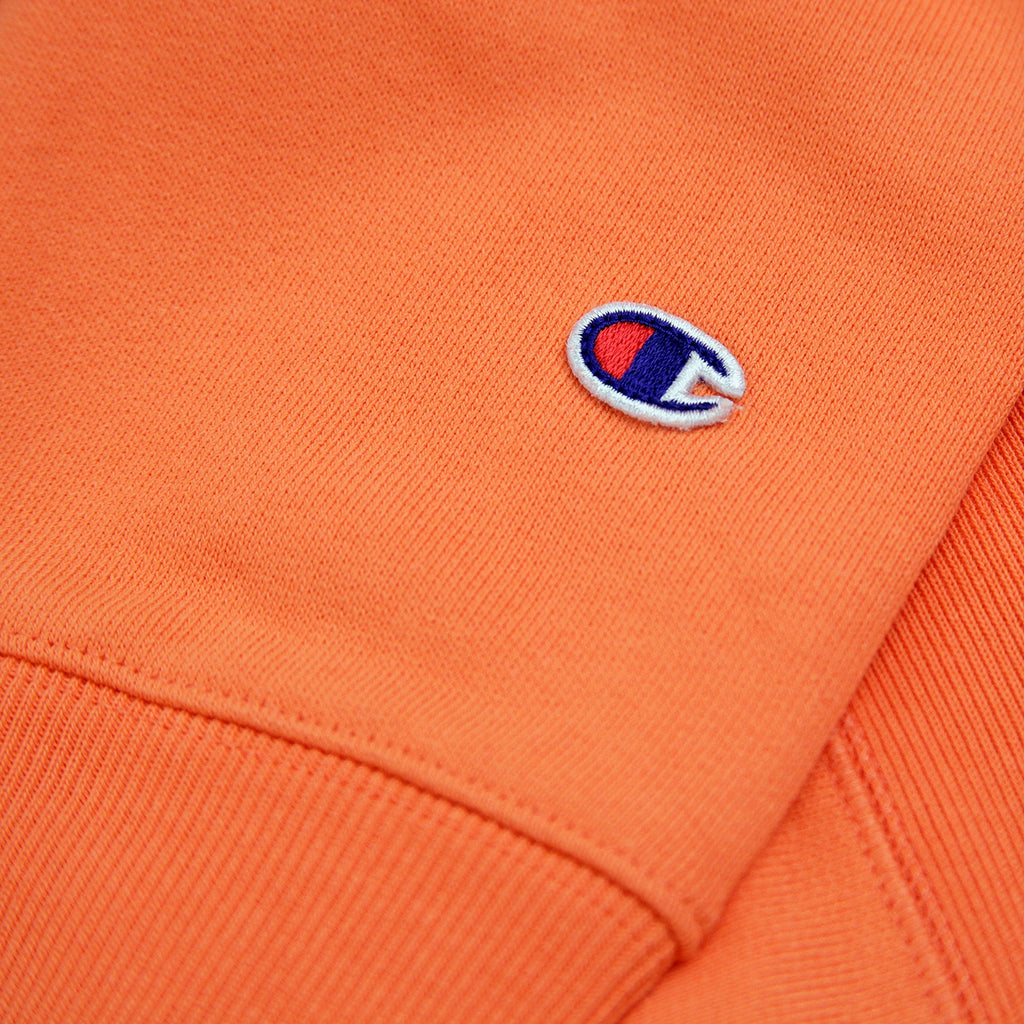 Champion Reverse Weave Classic Crew Sweatshirt in Safety Orange - Patch