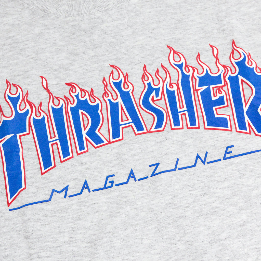 Thrasher Patriot Flame T Shirt in Ash Grey - Print