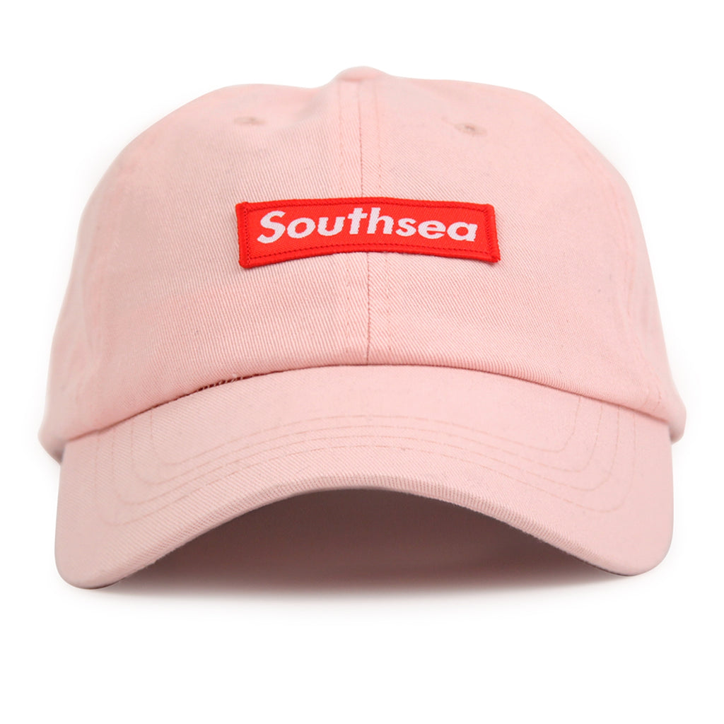 "Bored of Southsea ""Southsea"" 6 Panel Dad Cap in Pastel Pink - Detail"