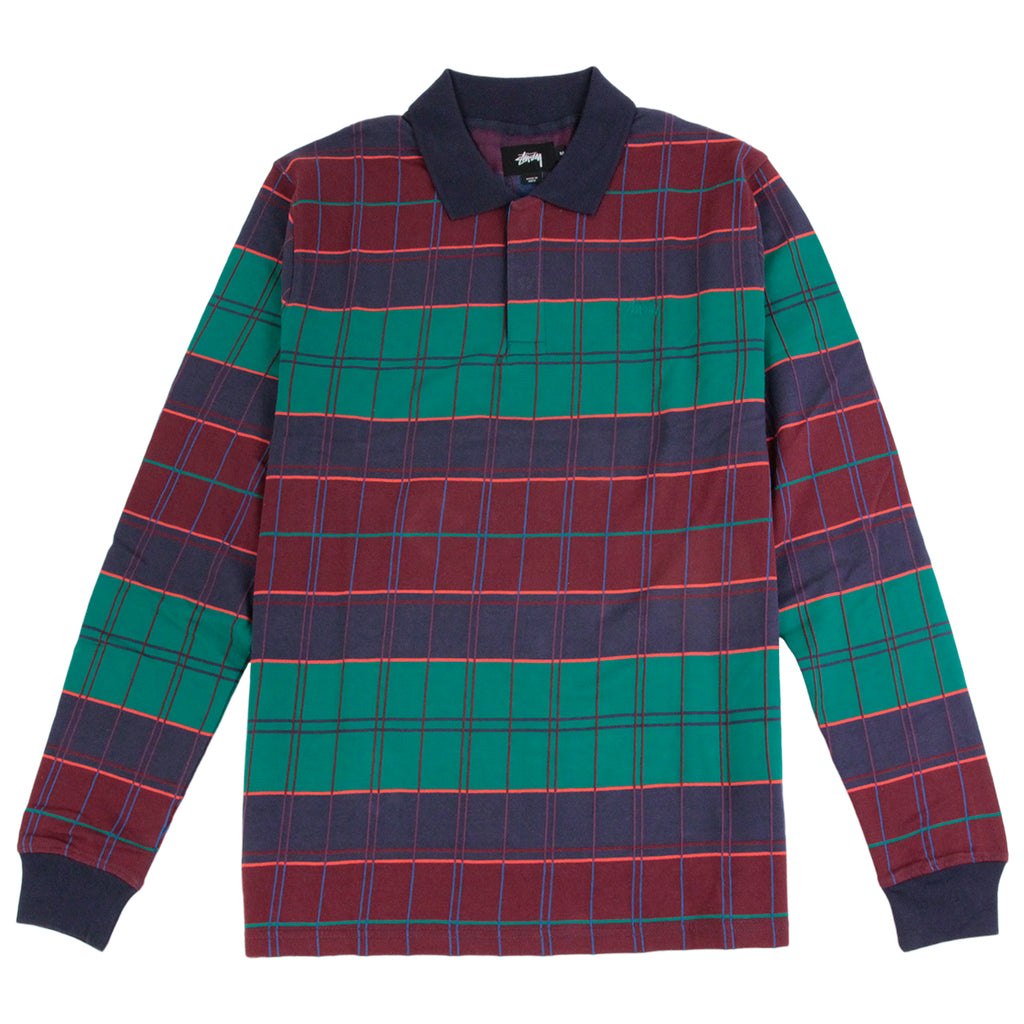 Stussy Plaid L/S Polo in Navy