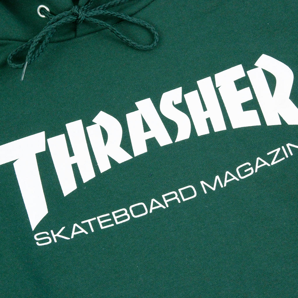 Thrasher Skate Mag Logo Hoodie in Forest Green - Print detail