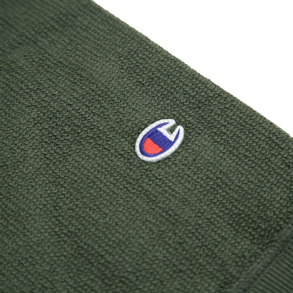Champion Reverse Weave Reversed Crew Sweatshirt in Dark Olive - Patch