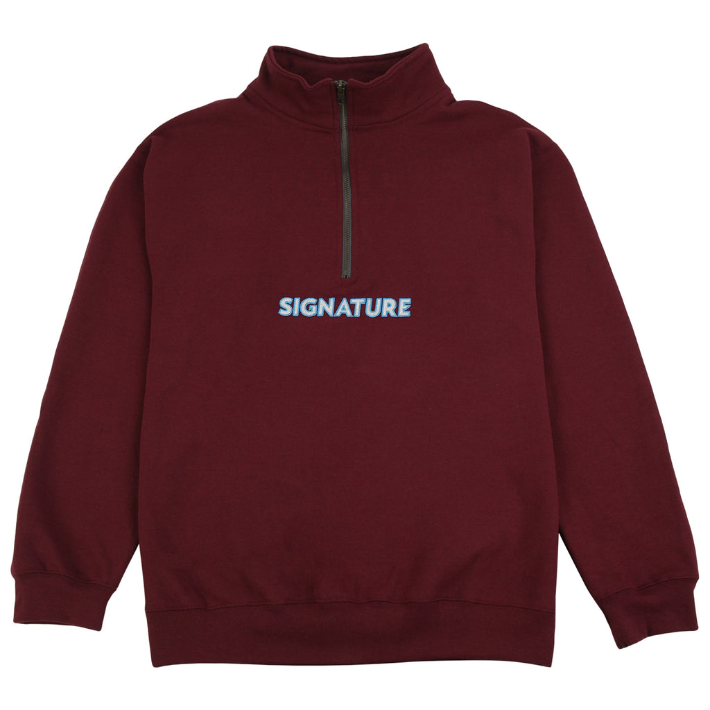 Signature Clothing Classic Logo Embroidered 1/4 Zip in Maroon