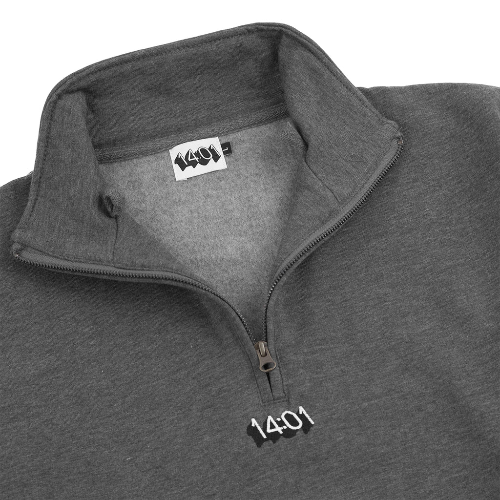 14:01 Skateboard Co Logo Quarter Zip Sweatshirt in Dark Grey Heather - Detail