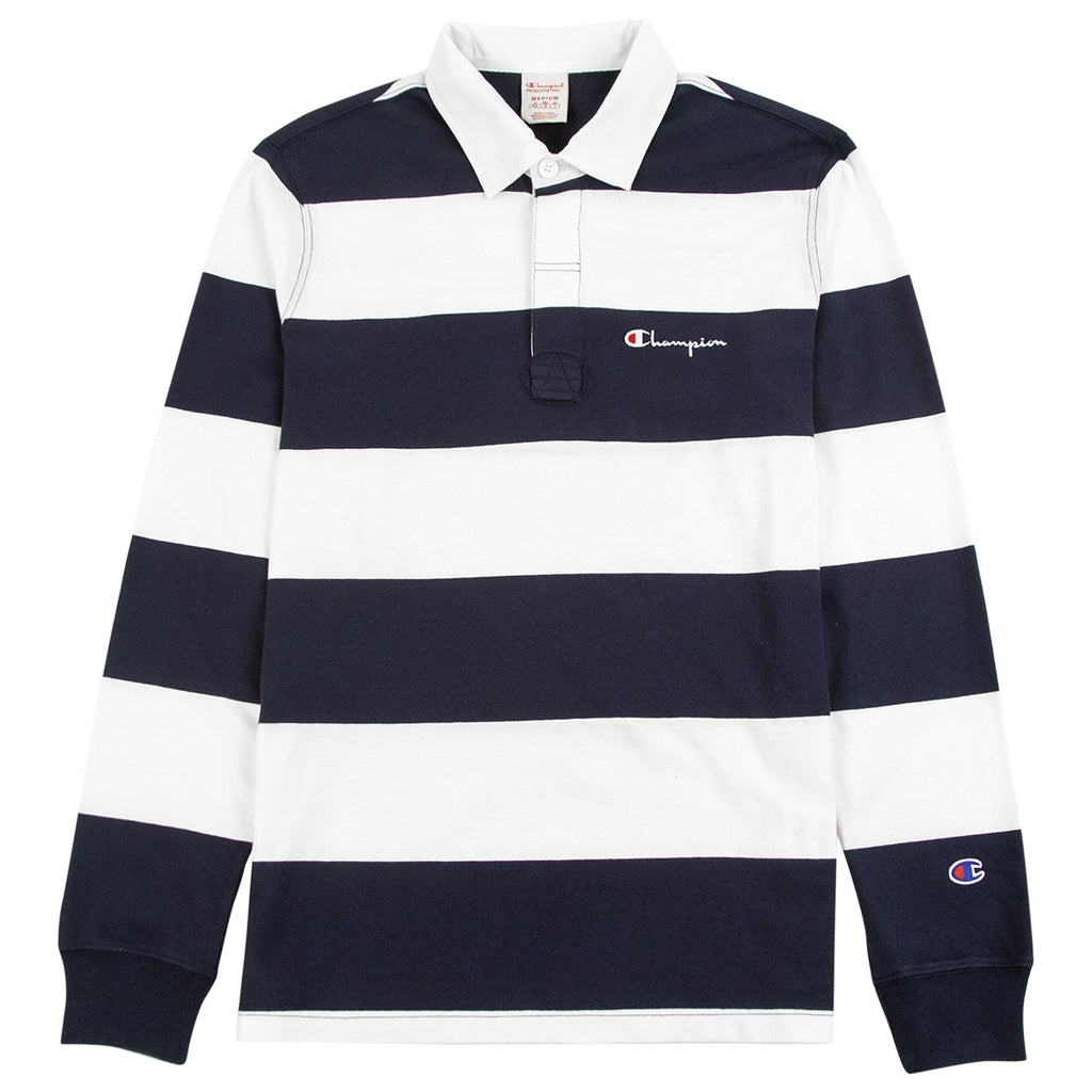 Champion Reverse Weave L/S Polo Shirt in Navy / White