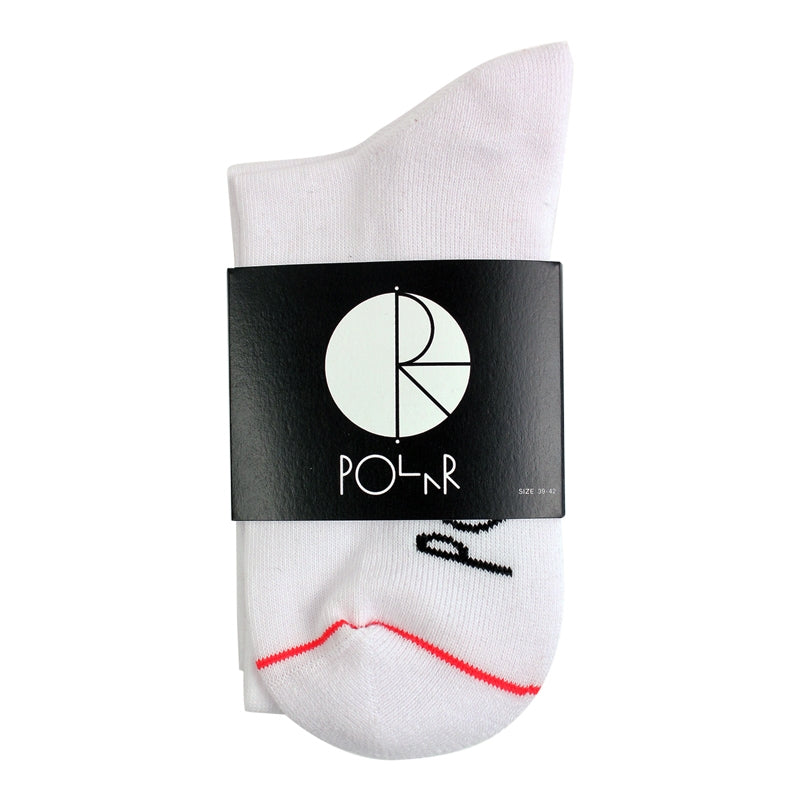 Polar Skate Co Happy Sad Fill Logo Mid High Socks in White / Red / Navy