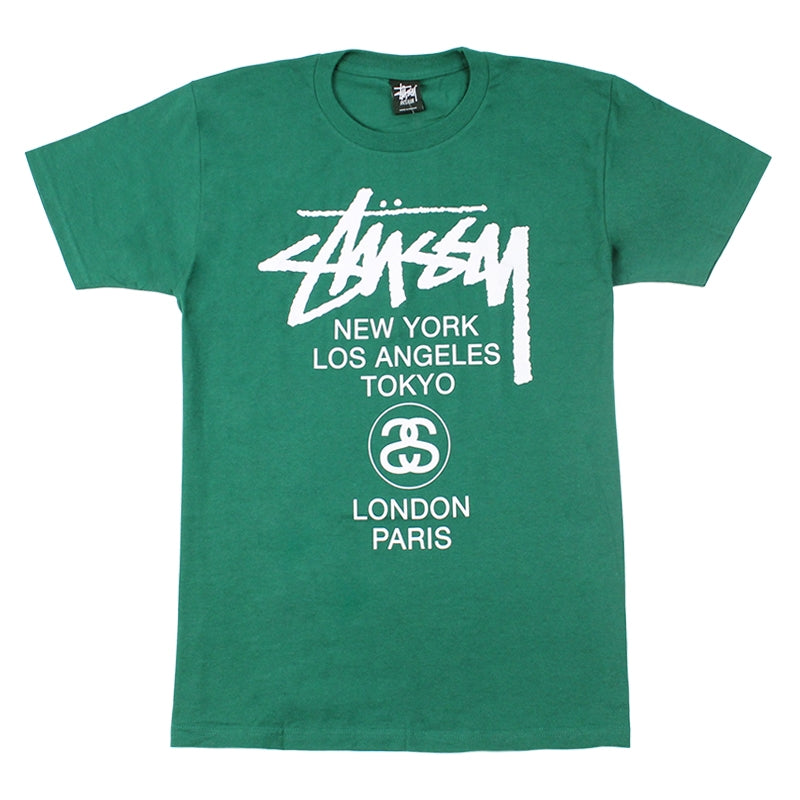 Stussy World Tour T Shirt in Dark Green
