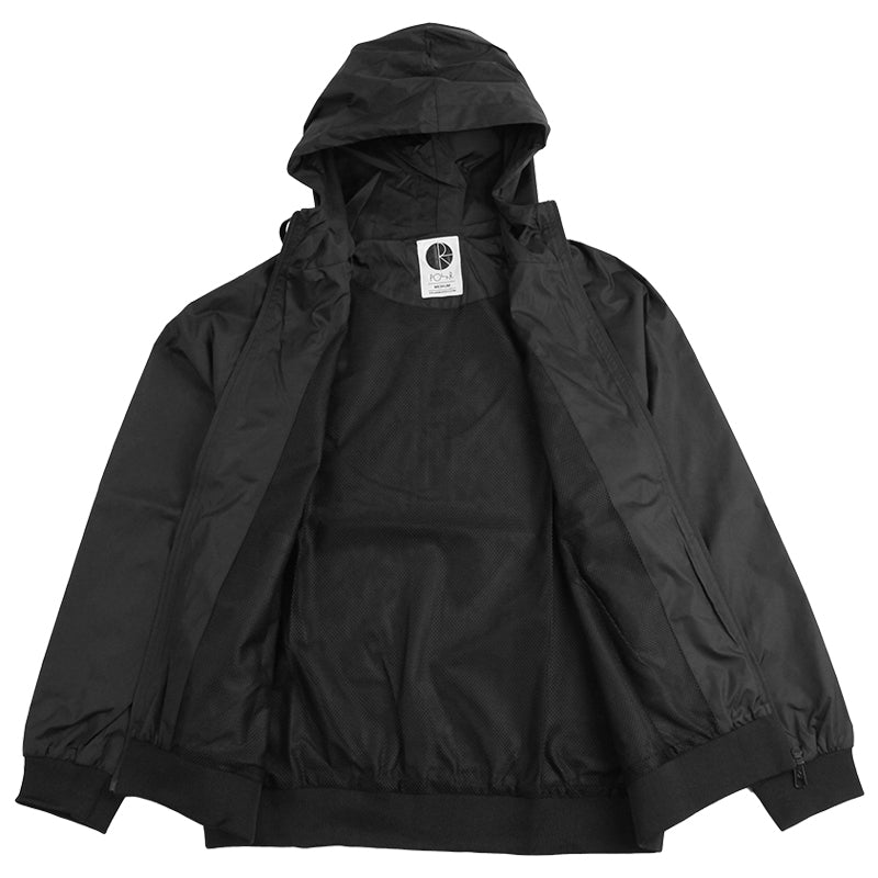 Polar Skate Co Fill Logo Chest Windbreaker Jacket in Black / White - Open