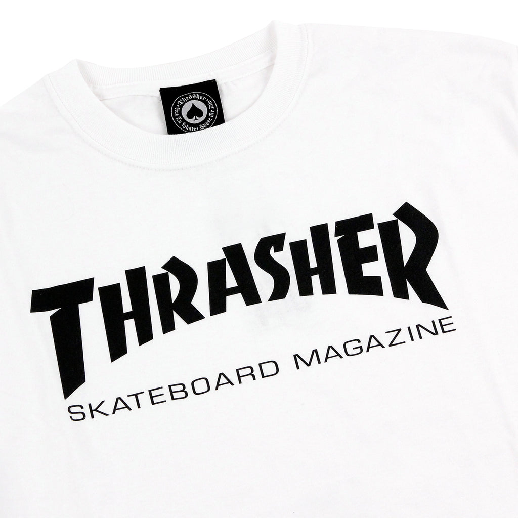 Thrasher Skate Mag Logo T Shirt in White - Detail