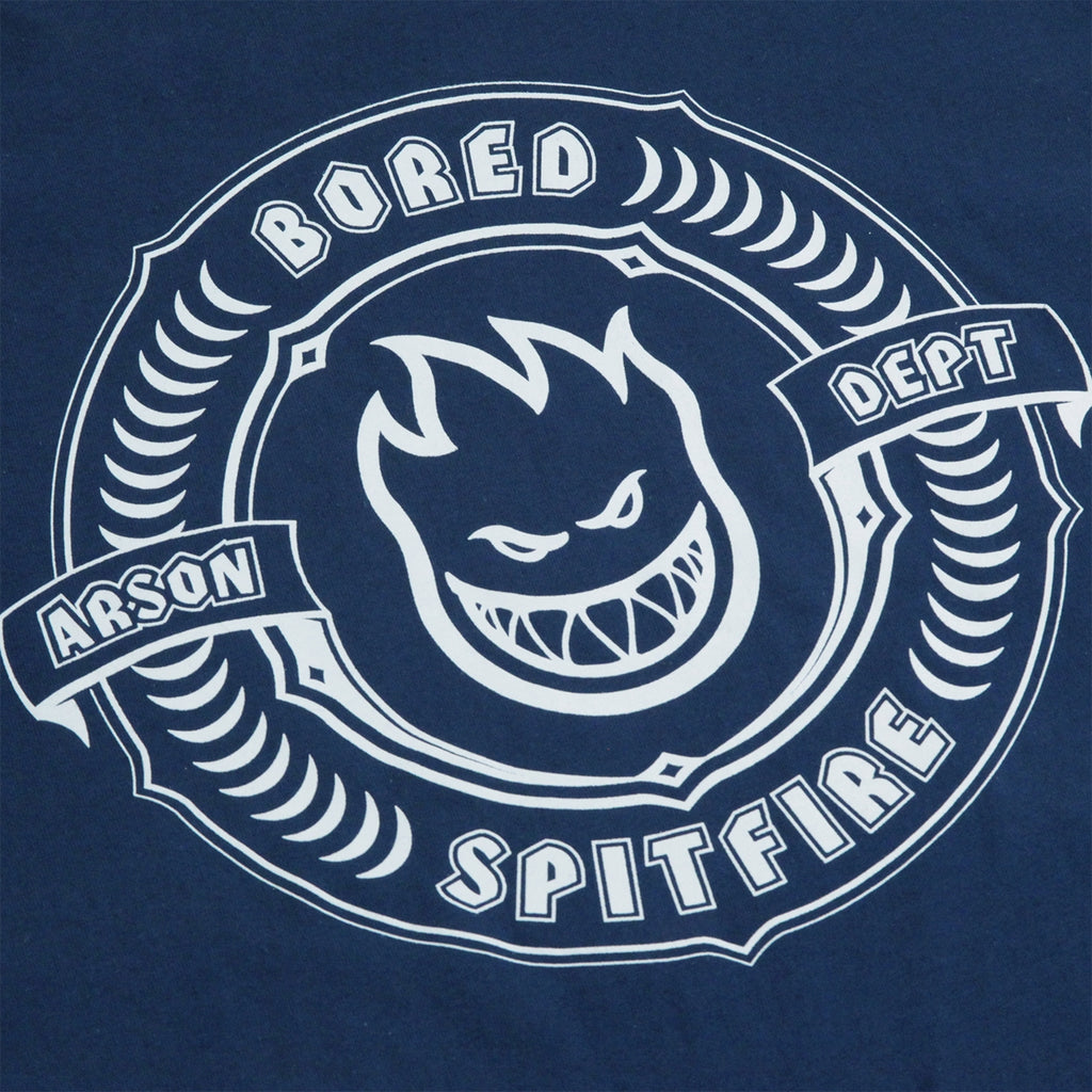 Bored of Southsea x Spitfire Wheels Arson Dept T Shirt in Harbour Blue - Back Print
