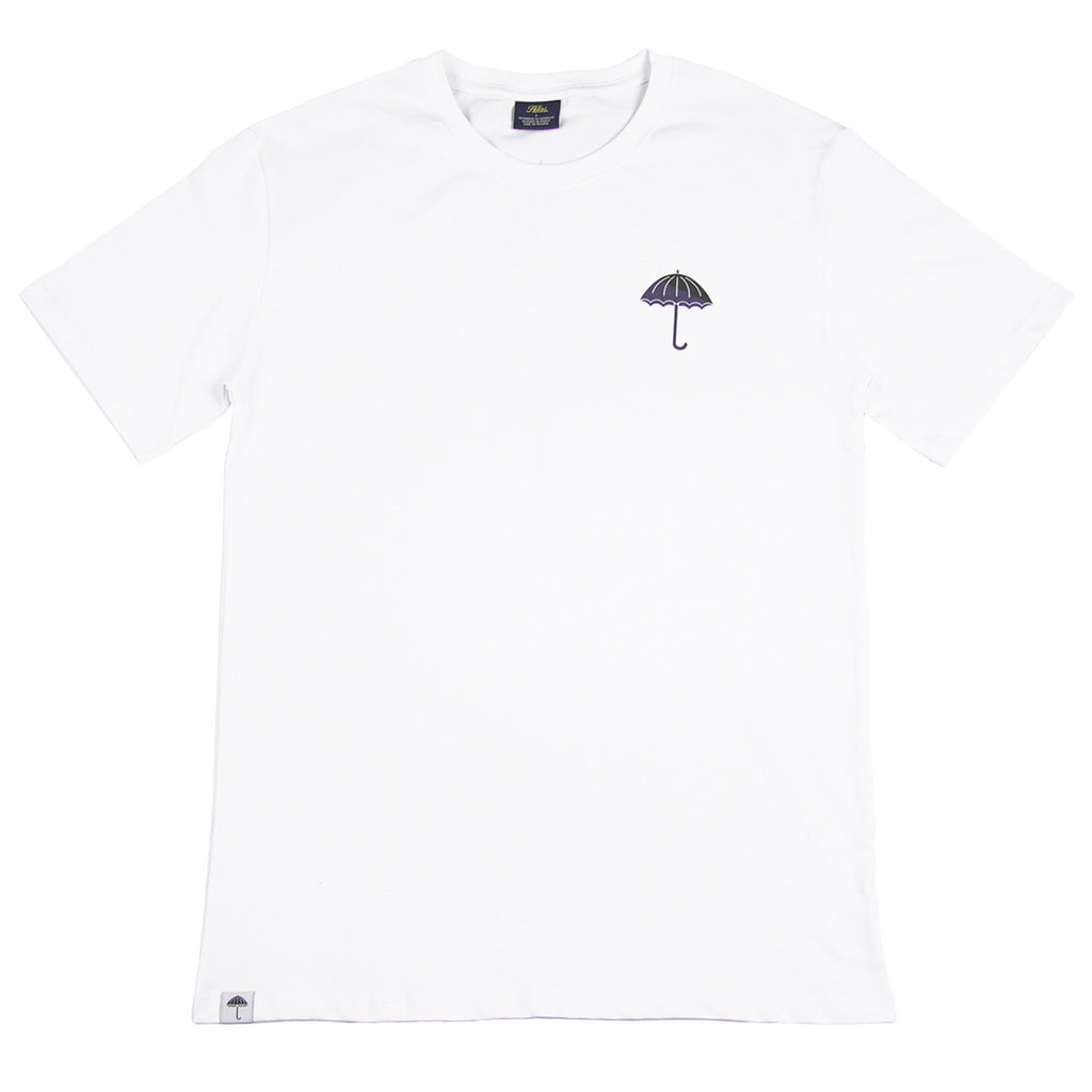 Helas Umbrella T Shirt in White / Navy / Black - Front