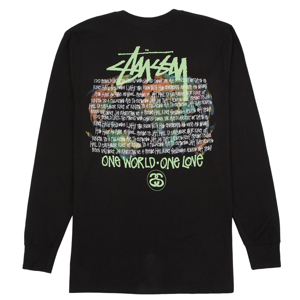 Stussy One World L/S T Shirt in Black
