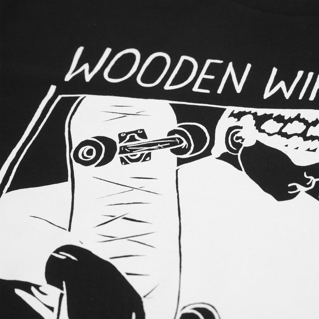 Wooden Wife Skateboards Sonic T Shirt in Black - Print close up