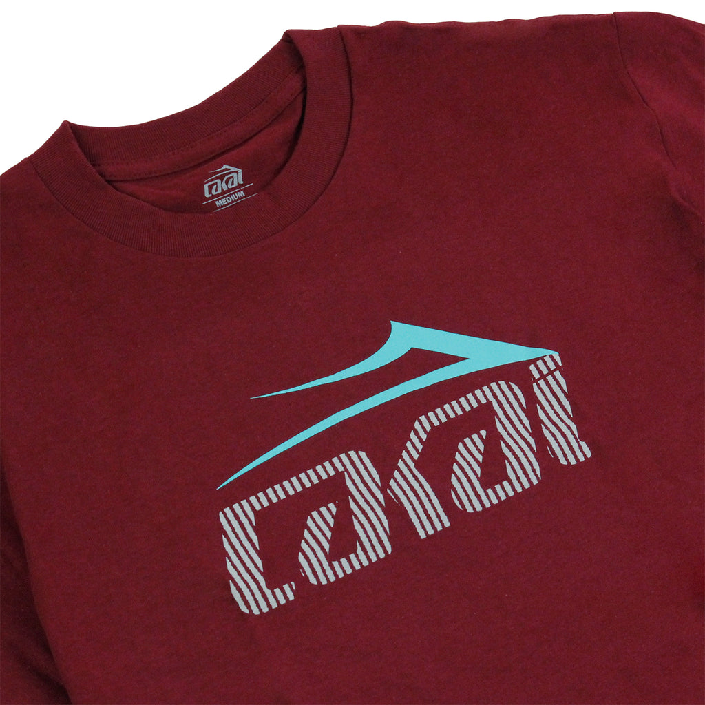 Lakai Tonal Tech T Shirt in Burgundy - Detail