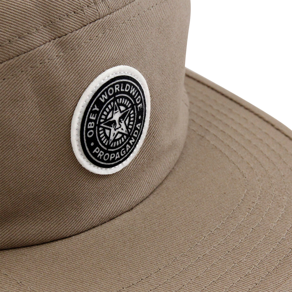 Obey Clothing Icon 5 Panel Cap in Khaki - Patch