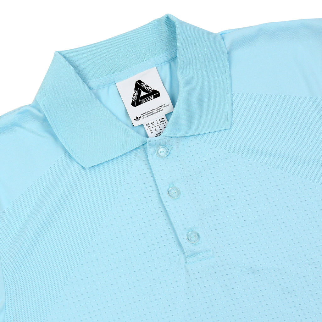 Palace x Adidas Knitted Polo Shirt in Clear Aqua - Detail