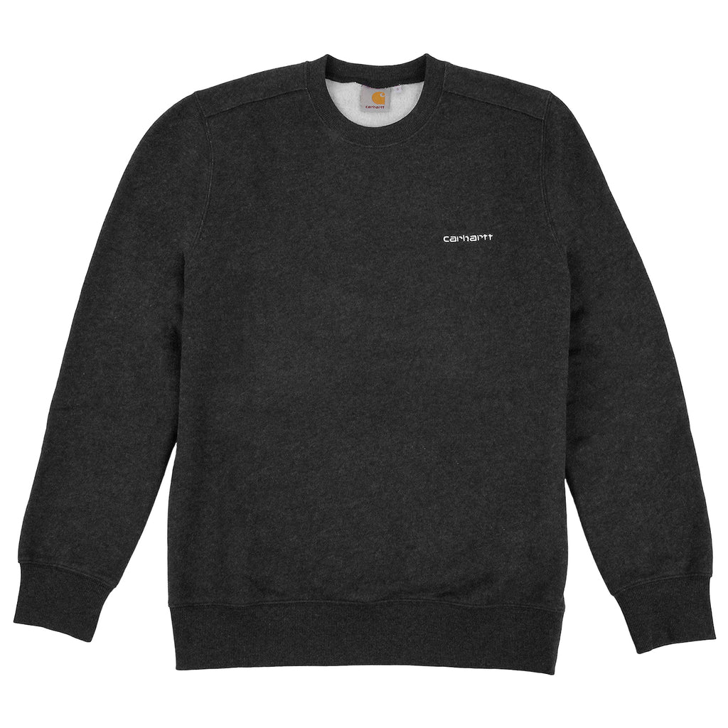 Carhartt Script Embroidery Sweat in Black Heather / White