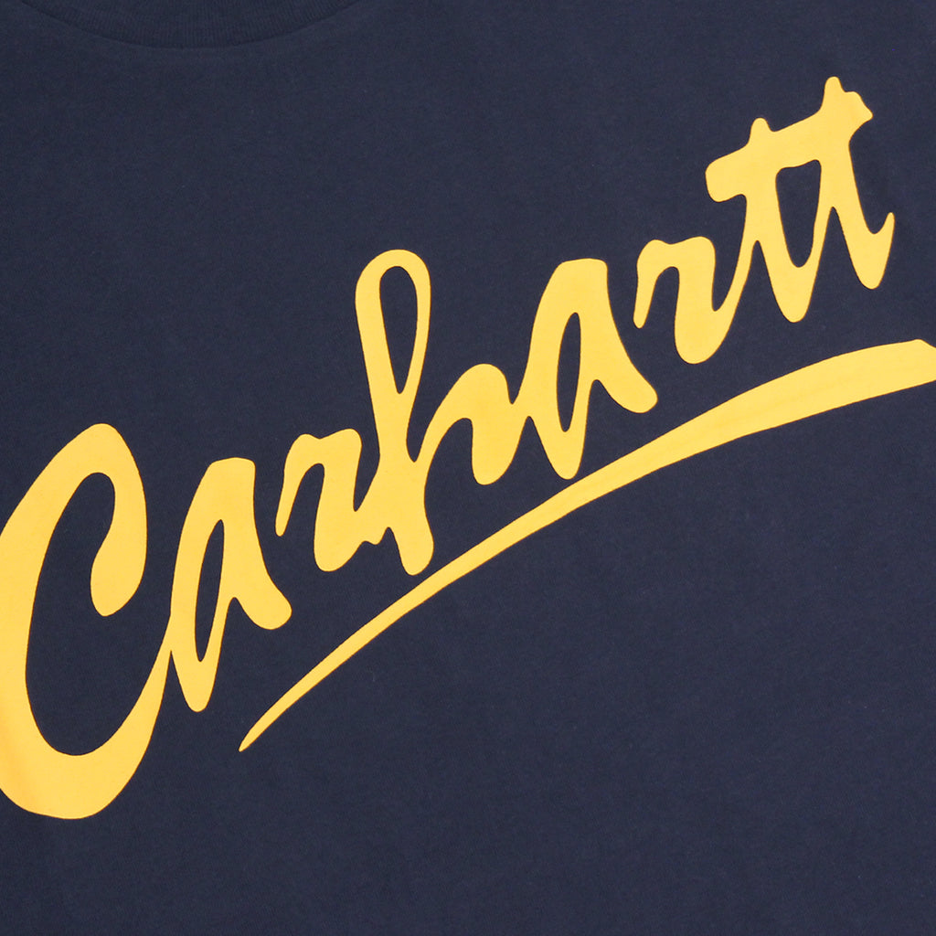 Carhartt WIP Brush T Shirt in Navy / Yellow - Print detail