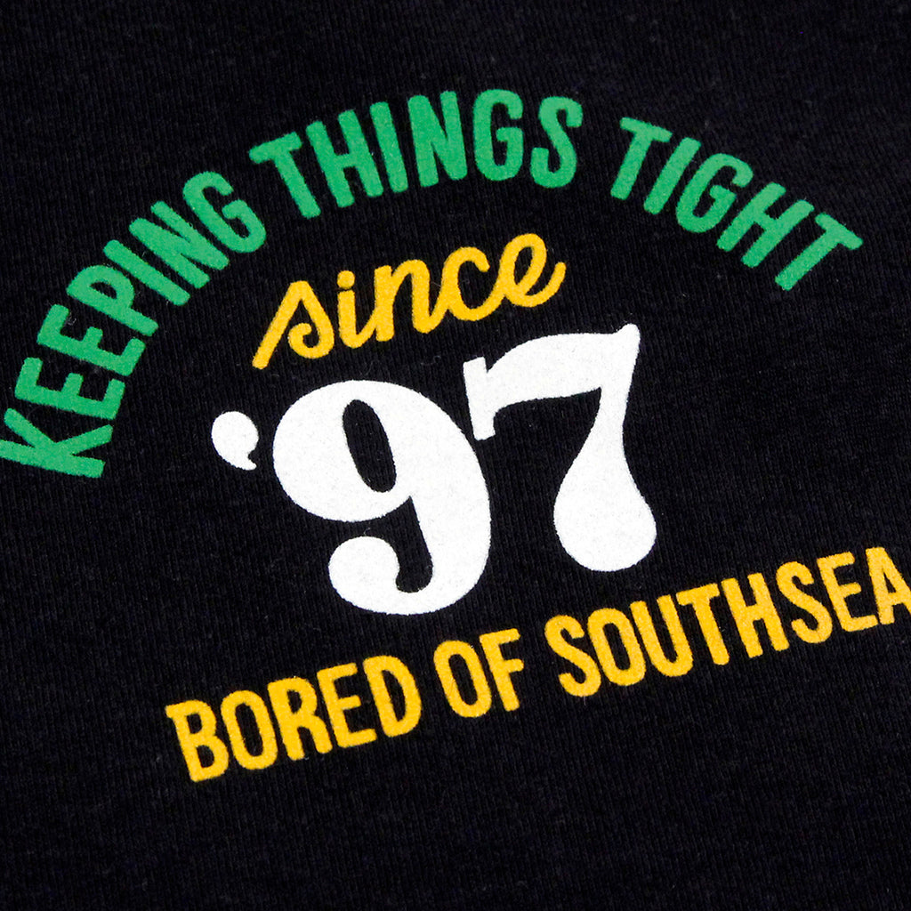 Bored of Southsea Keeping Things Tight T Shirt in Black - Front detail