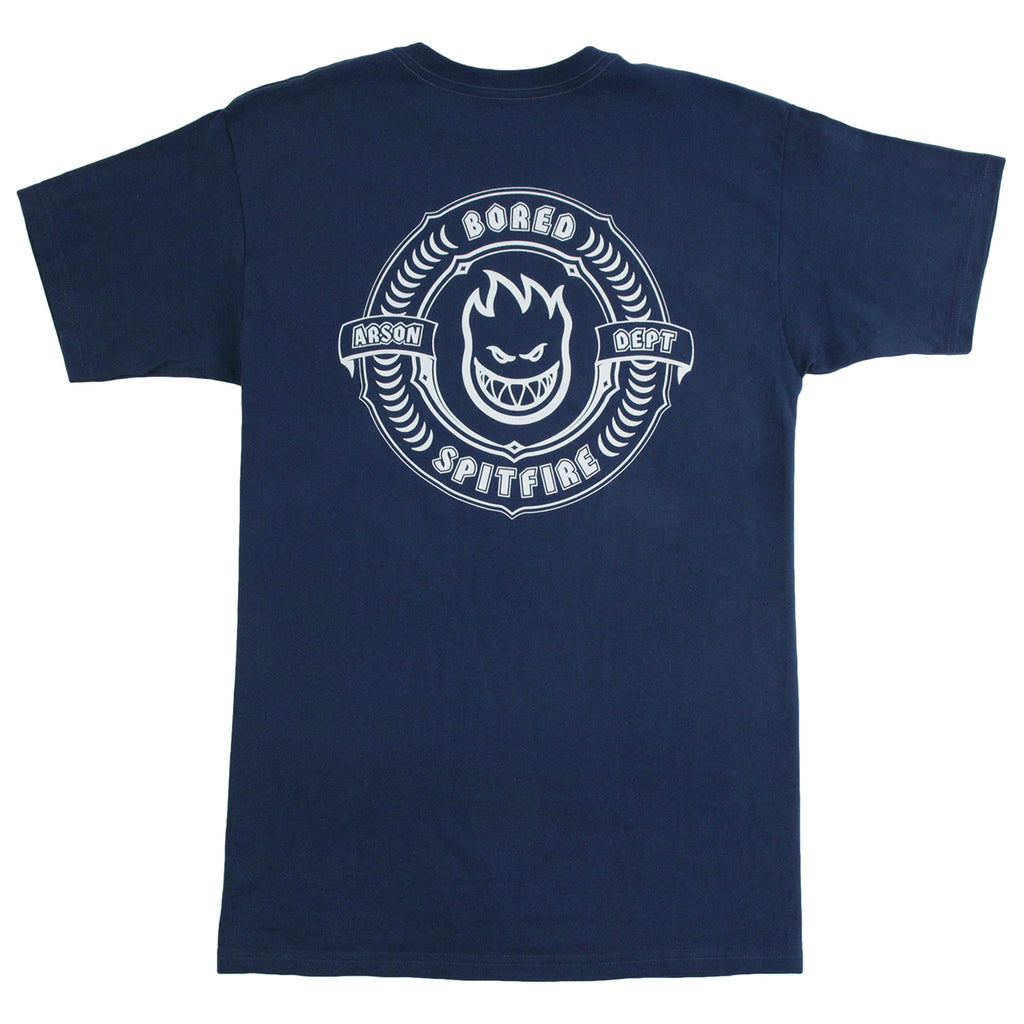 Bored of Southsea x Spitfire Wheels Arson Dept T Shirt in Harbour Blue