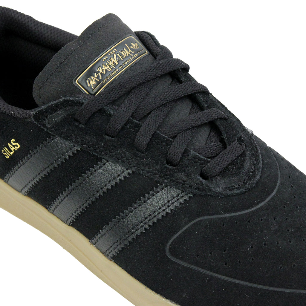 Adidas Skateboarding Silas Vulc ADV Shoes in Core Black/Core Black/Gold MT - Detail