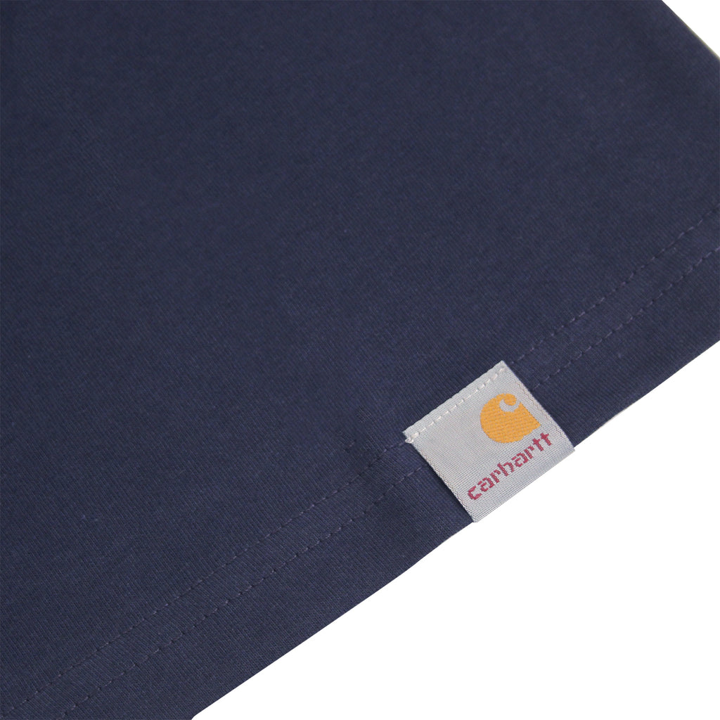 Carhartt WIP Brush T Shirt in Navy / Yellow - Hem label