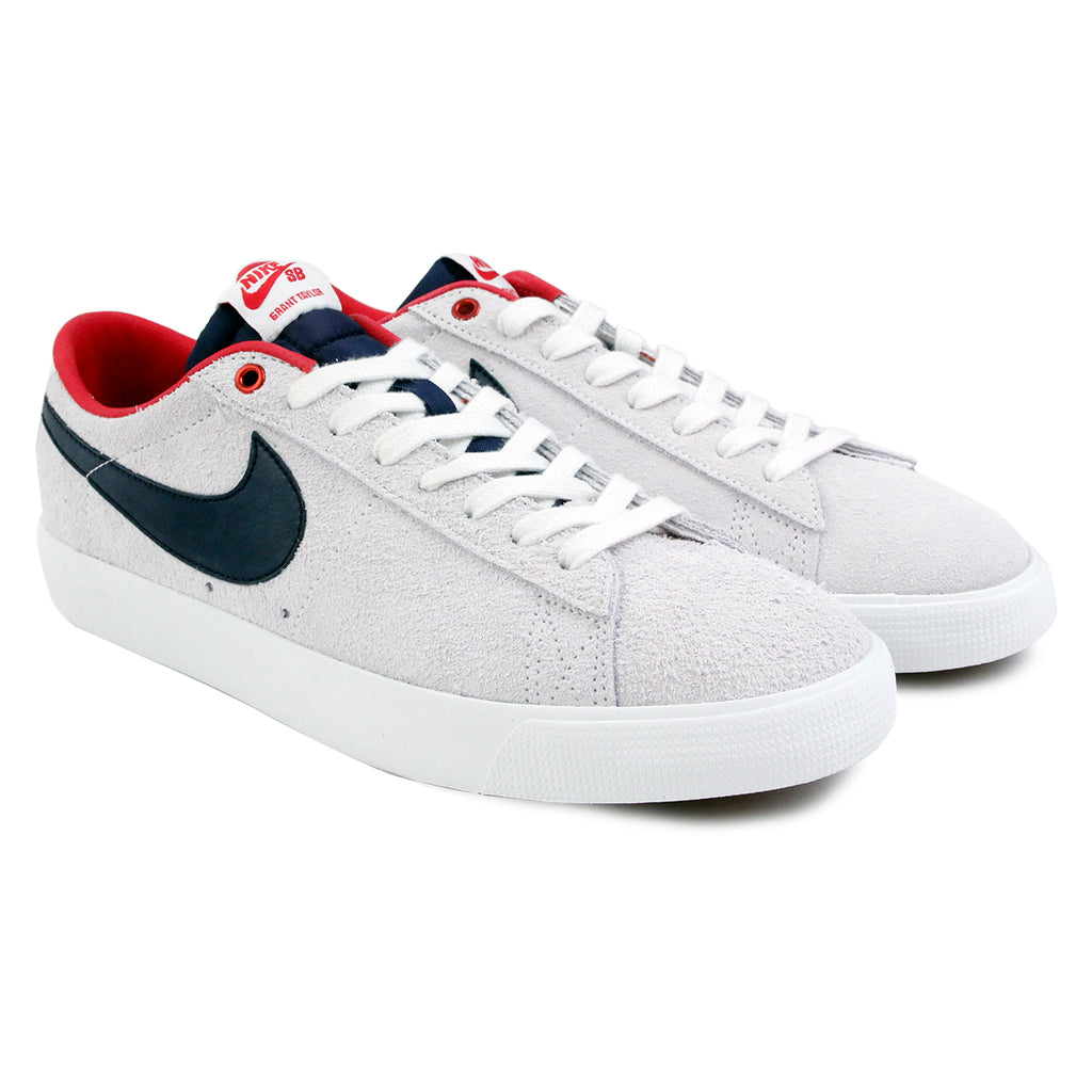 Nike SB Blazer Low Grant Taylor Shoes - Summit White / Obsidian in University Red - Pair