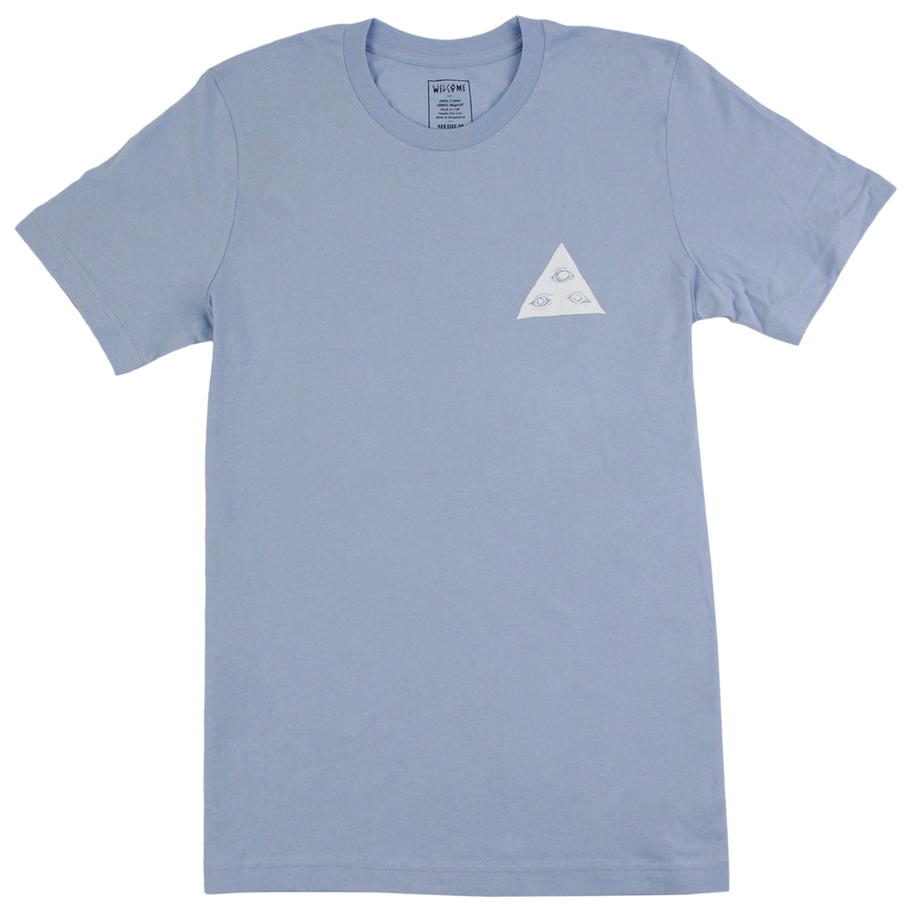 Welcome Skateboards Talisman T Shirt in Baby Blue / White - Front