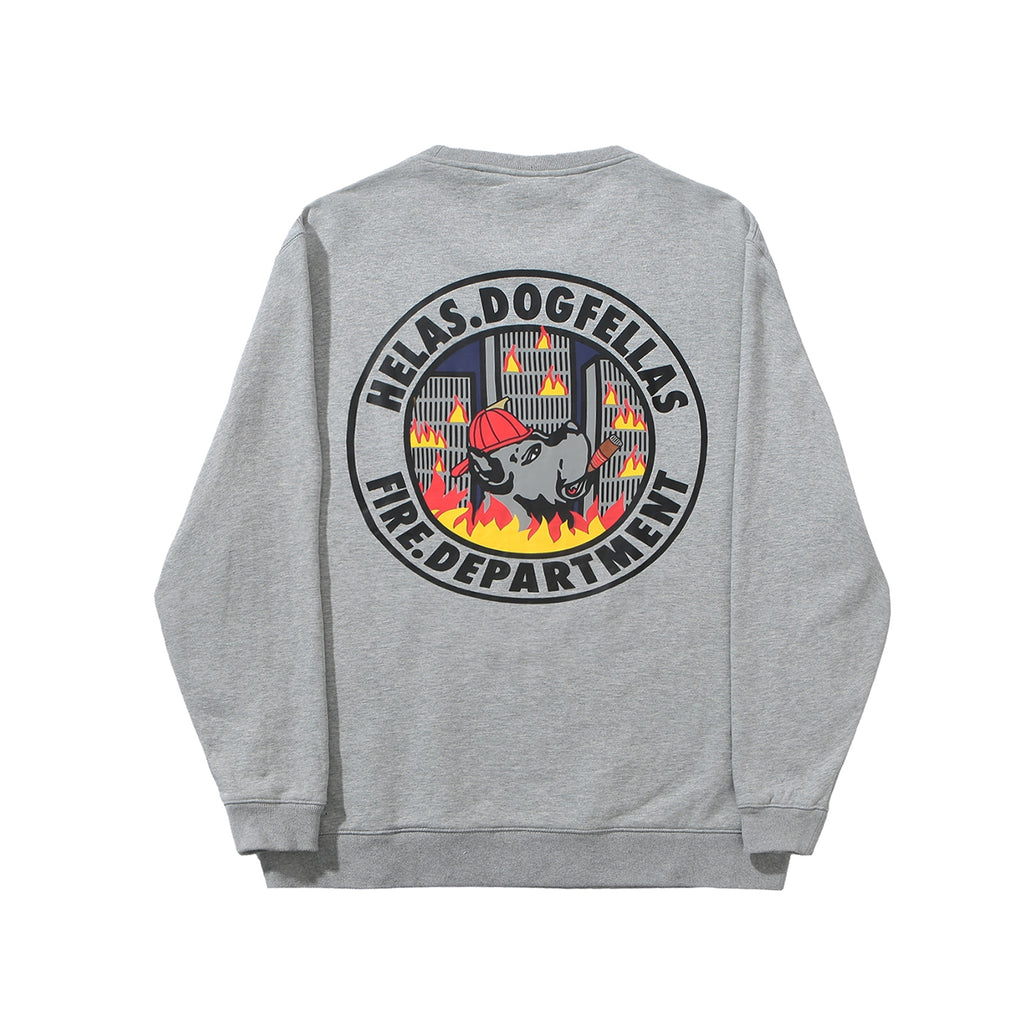 Helas Fire Dept Crewneck Sweatshirt in Heather Grey