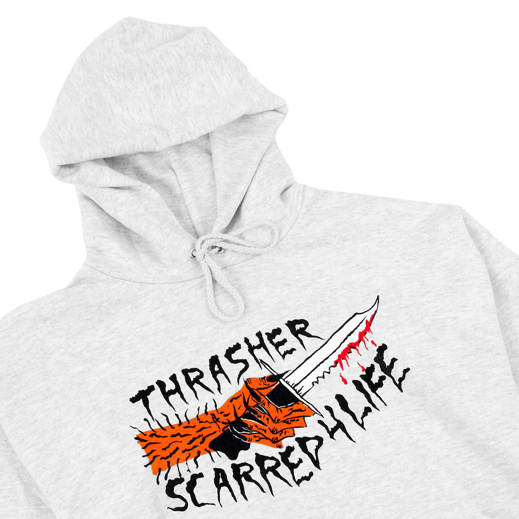 Thrasher Scarred 4 Life Hoodie in Ash Grey - Detail