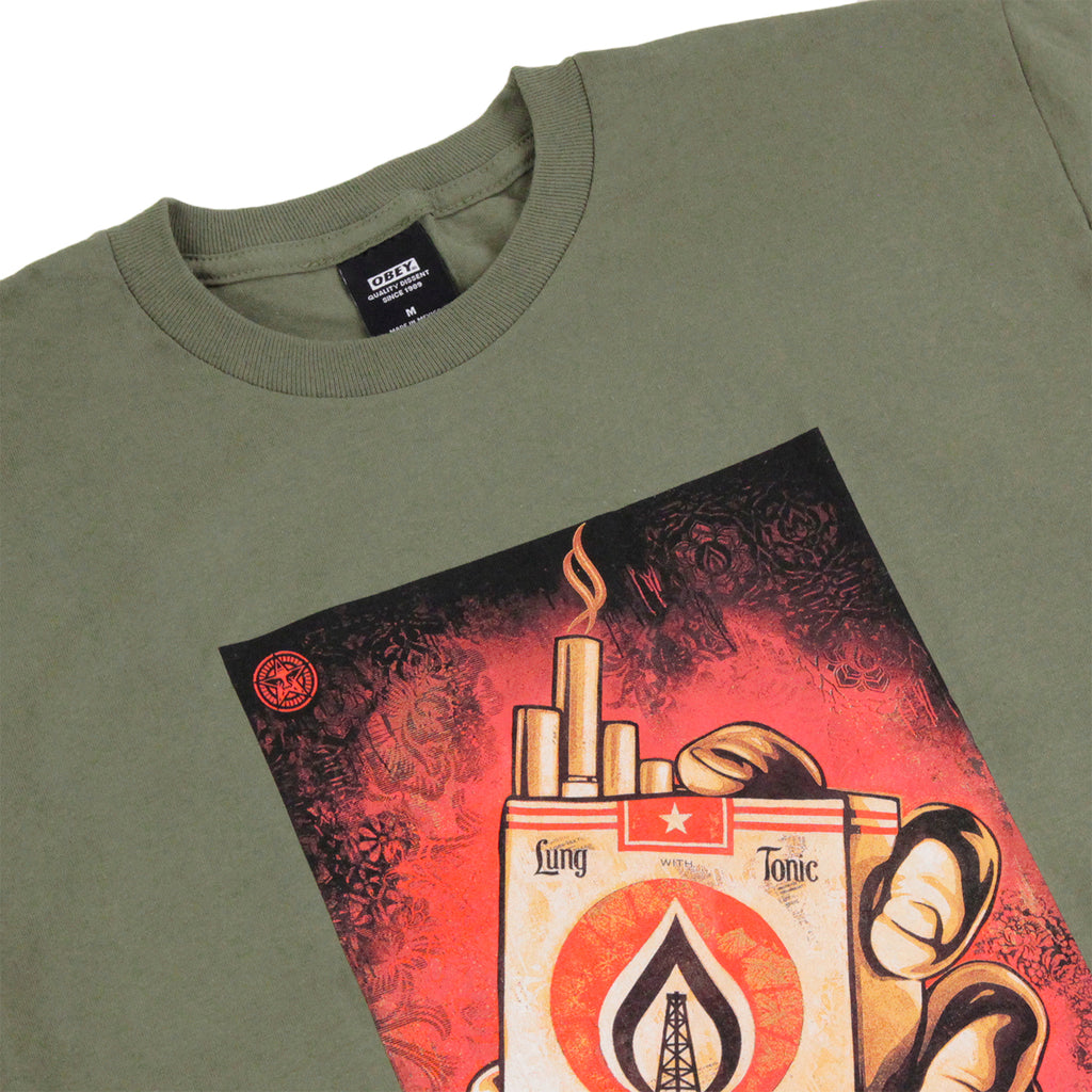 Obey Clothing Black Gold T Shirt in Military Olive - Detail