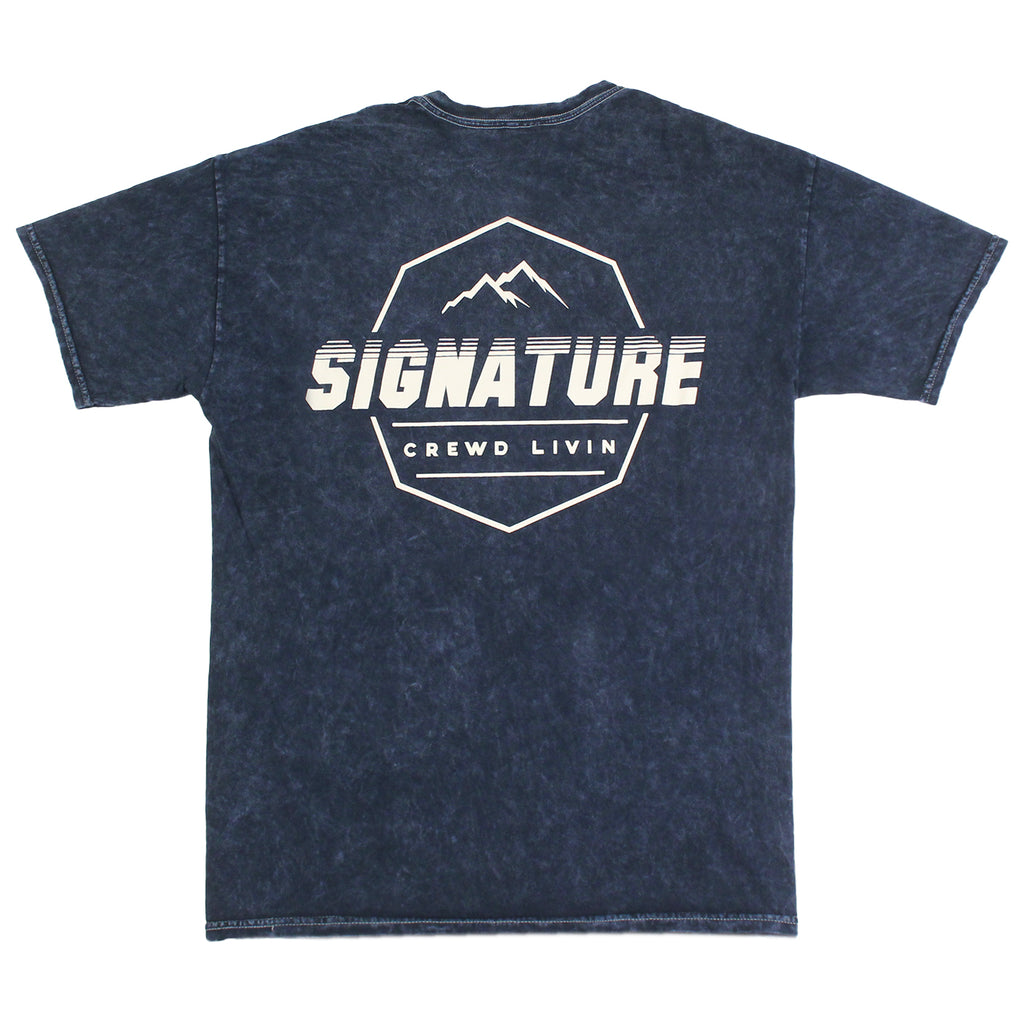 Signature Clothing Mach Peak Logo T Shirt in Navy Mineral Wash