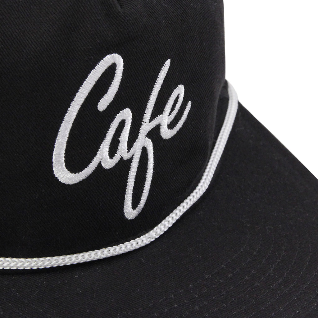Skateboard Cafe Script Lace Snapback Cap in Black / White - Detail