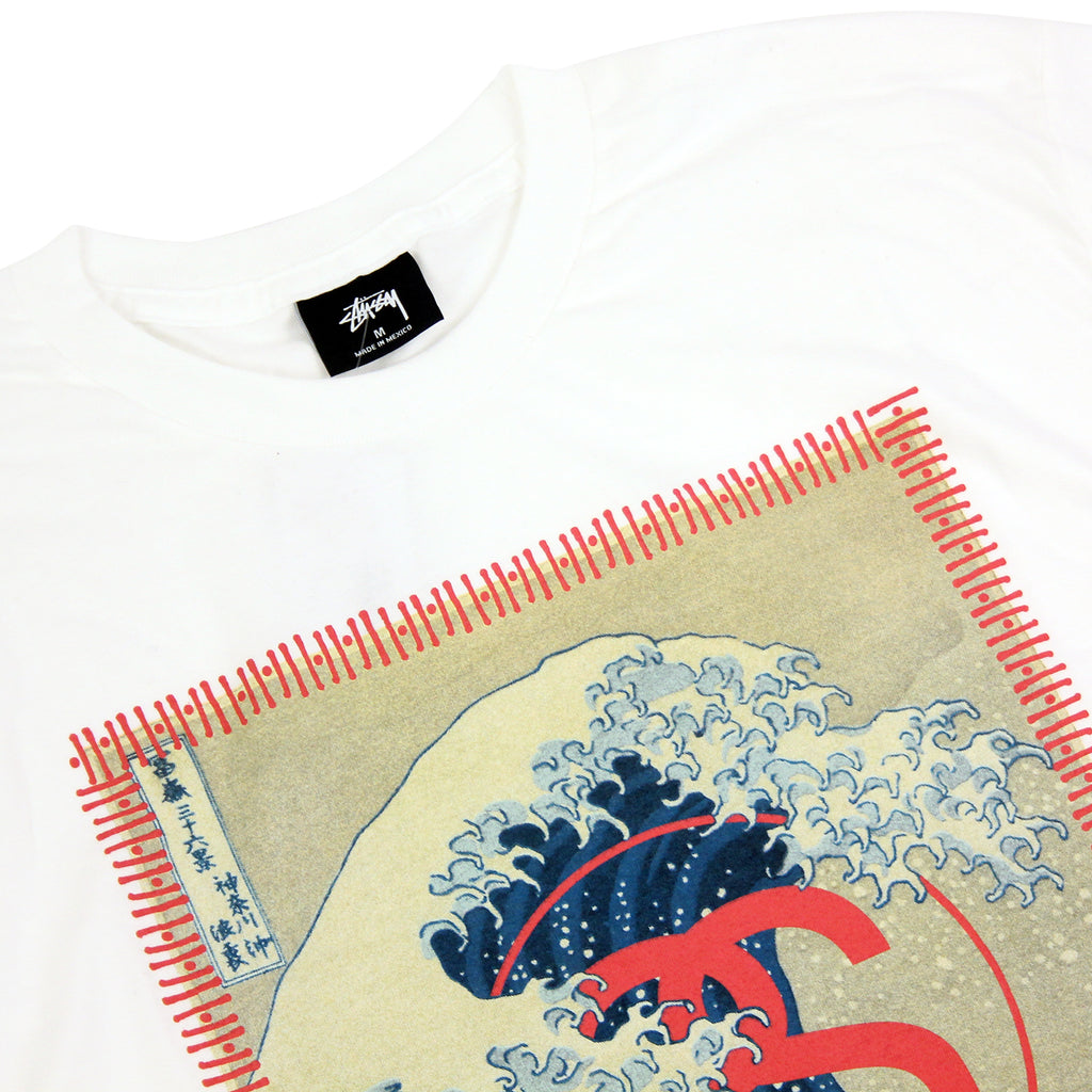 Stussy Tsunami T Shirt in White - Detail