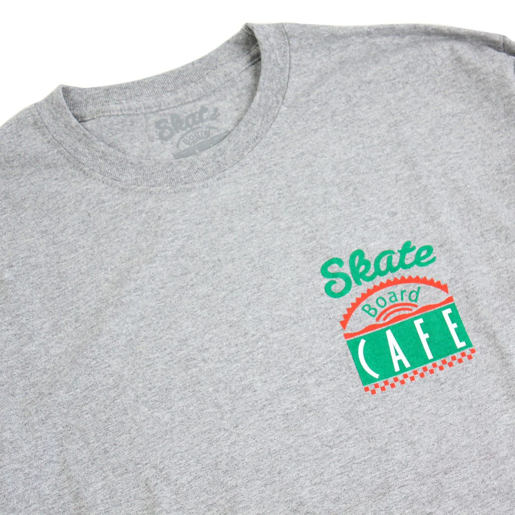 Skateboard Cafe Diner L/S T Shirt in Heather Grey - Collar