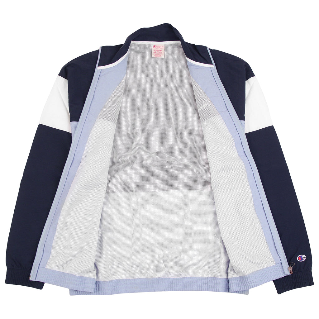 Champion Reverse Weave Colour Block Track Top in Lilac / Navy / White - Open