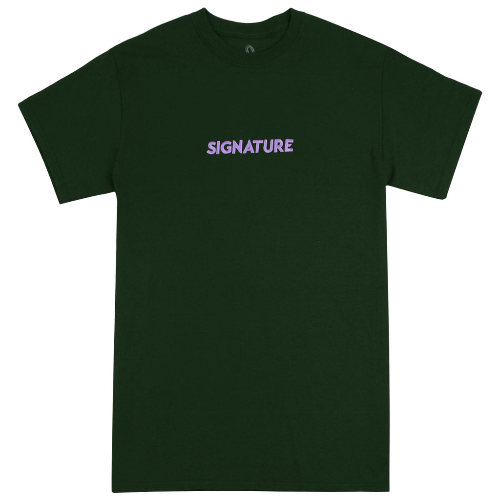 Signature Clothing Classic Logo Embroidered T Shirt in Forest Green / Lilac